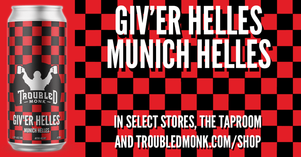 troubled monk giv'er helles munich helles beer. In select stores, the taproom and online at troubledmonk.com/shop