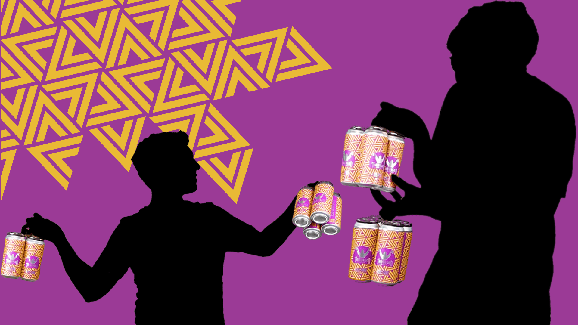 Image of Rye-Pod beer mimicking the early Iphone ads with a silhouette of a man holding up the beer and a purple and gold background
